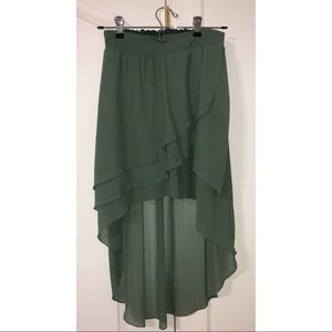 Charlotte Russe Green High-Low Skirt
